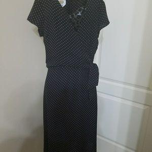 Talbots Silk Navy dress with dots with tie waist